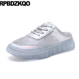 $enCountryForm.capitalKeyWord Australia - mesh lace up mules sneakers platform creepers shoes transparent metallic slippers women flats mirror silver trainers beautiful