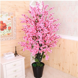 Artificial Potted Plants Australia - Artificial tree+ flowerpot peach flower fake tree potted DIY wedding garden hotel Christmas home decor tree plastic plant bonsai