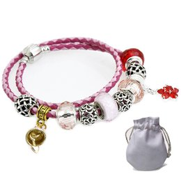 $enCountryForm.capitalKeyWord UK - Pink Leather Rope Bracelets Fit Pandora Women Faceted Murano Glass Beads Openwork Lantern Beaded Charms Bangle Gold Bell Pendant P212