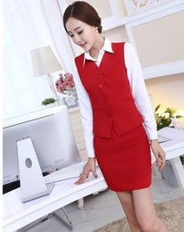 New desigN lady skirt online shopping - New Fashion Slim Uniform Design Spring Autumn Business Work Suits Vest Skirt Ladies Office Uniforms Outfits Blazers Sets