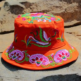 32198144a1a The ethnic style embroidery flower Bucket Hat Fisherman Hat outdoor travel Sun  Cap Hats for Women 0230