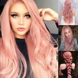 Wholesale 2018 New Cosplay Rose Pink Body Wave Lace Front Wigs High Temperature Fiber Glueless Synthetic Wigs with Middle Part Women Natural Wigs