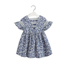 Korea style clothing online shopping - Korea Sweet Baby Girl Cotton Dresses Wildflower Lace trim Petal short sleeve Back V neck Boutique girls clothing Y Summer