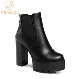 3fecf83fa98 Phoentin black platform ankle boots 2019 back zipper women ankle boots high  heels round toe fashion woman shoes plus size FT604