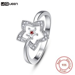 $enCountryForm.capitalKeyWord Australia - wholesale Romantic 925 Sterling Silver Luck Ring Concise Hollow Out Star Clear Red CZ Finger Ring For Women Christmas Gift Jewelry
