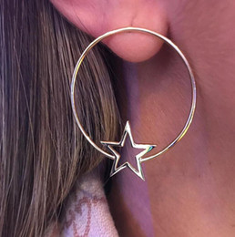 star shaped gifts NZ - 1 Pair New Fashion Gold Star Moon Shape Earrings Simple Ear Ring Ethnic Jewelry Gift Round Geometric Earrings For Women Bijoux