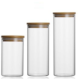 $enCountryForm.capitalKeyWord NZ - Food Storage Glass Jar No Lead Kitchen Storage Bottles Sealed Cans with Cover Large Capacity Candy Glass Jars Tea Box H10560