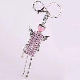 $enCountryForm.capitalKeyWord Australia - Women Keyring Colorful Rhinestone Dress Doll Key Chains Car Handbag Pendant DIY Handmade Fashion Jewelry Keychain Gifts for Girl