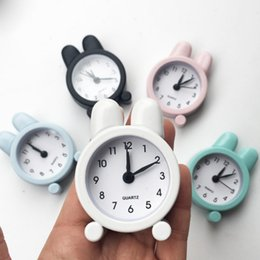 Discount digital clock numbers - Portable Mini Cartoon Alarm Clock with Cute Ear Household Cute Round Number Double Bell Desk Table Digital Clock Home De