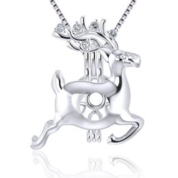$enCountryForm.capitalKeyWord NZ - 925 Sterling Silver Running Christmas Deer Shape Pearl Necklace Setting Cage Pendant for Jewelry Making