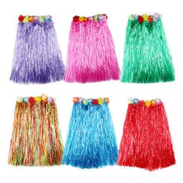 Discount wholesale hula Plastic Hawaiian Costume Fibers Women Grass Skirts Hula Skirt With Flower Ladies Dress Up 10 Colors Cheerleading