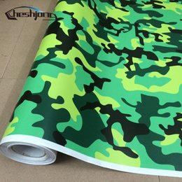 Discount yellow film wrap - Cheshjong Green Black Yellow Urban Camo Vinyl Car Wrap Artic Camouflage Film for Scooter Car Motorcycle