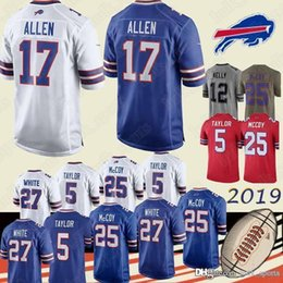 Wholesale 12 t shirts for sale – custom 12 Jim Kelly Buffalo BillJERSEY Josh Allen TreDavious White Kyle Williams jerseys Tremaine Edmunds men top quality T shirt