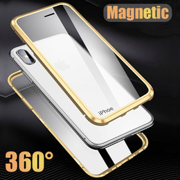 iphone front yellow Canada - For iPhone X XS XS MAX XR Case Luxury 360 Front+Back double-sided 9H Tempered Glass Magnetic Adsorption Metal Bumper Case Cover
