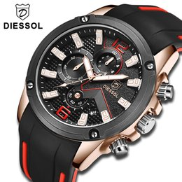 top luxury watches men Canada - Relogio Masculino DIESSOL Watch Men Fashion Casual Quartz Sport Watch Waterproof Mens Watches Top Brand Luxury Rubber Band Clock