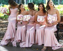 Lavender Blush Wedding Dress Australia - Blush Pink Sweetheart Satin Mermaid Long Bridesmaid Dresses Ruched Floor Length Wedding Guest Long Maid Of Honor Dresses
