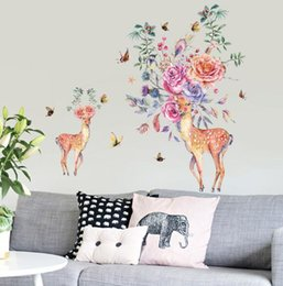 WindoW sticker paint online shopping - Hand painted flower deer living room bed corner porch wardrobe restaurant doors and windows and other decorative wall stickers murals creati