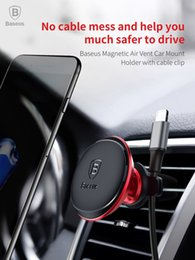 Wholesale Baseus Magnetic Air Vent Car Mount holder with cable clip For iPhone X s Plus Samsung Rotate GPS Universal phone Holder
