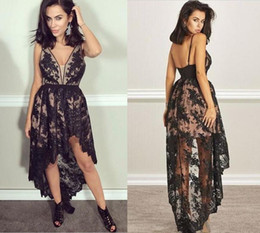 Gold Charm Sexy Girl Australia - Charming Black High Low Prom Dresses Short Lace Applique Formal Party Gowns Sexy V Neck Backless Girls Evening Dress