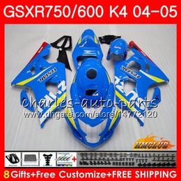 China Bodywork For SUZUKI GSXR 750 GSX R750 GSX-R600 GSXR600 04 05 7HC.0 GSXR-750 GSXR 600 04 05 K4 GSXR750 2004 2005 Fairing kit New Factory blue cheap gsxr fairing red white suppliers