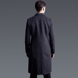 mens black double breasted trench coat Canada - Business Man Winter Wool Blends Casaco Masculino Woolen Outwear Overcoat Mens Long Coat Pockets Double Breasted Trench
