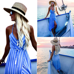 women holiday evening dresses NZ - New Women Summer Dress Boho Maxi Long Striped Halter Evening Party Beach Dresses Sundress Irregular Bohemian Holiday Dress