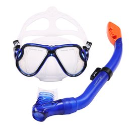 Glasses Swimming Kid Australia - For Kids Child Underwater Swimming Goggles Girls Tempered Glass Mask Safe Semi-dry Snorkel Breathing Tube Non Toxic Diving Set