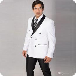 $enCountryForm.capitalKeyWord Australia - White Groom Tuxedos Men Wedding Suits Black Shawl Lapel Two-Piece Red Coat Pants Groomsmen Suit Blazer Double Breasted Costume Homme
