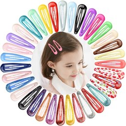 metal hair clips barrettes wholesale NZ - Snap Hair Clips Water Drop Hair Clip Pins BB Hairpins Hairgrip Macaron Color Metal Barrettes Girls Styling Hair Accessories 20 Color DHW3622