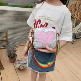 wholesale girls sequin shorts Canada - Handbag Sequins Girls Heart Bag Women Lovely Shoulder Love Rainbow Messenger Strap Crossbody Kids Wallet For Cloon
