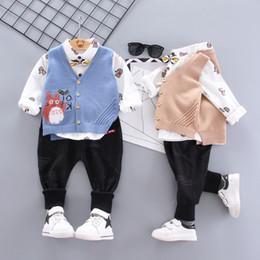 $enCountryForm.capitalKeyWord NZ - Baby boys clothes sets three-piece suit cartoon autumn new model 2019 baby suit waistcoat shirt and haren pants kids clothes