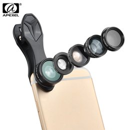 Wholesale 5 in Camera Kit Degree Fisheye X Wide Angle X Macro X Telephoto Lens Polarizer for iPhone Samsung Xiaomi ZTE