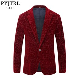 Costumes for singers online shopping - Pyjtrl Men Autumn Winter Wine Red Burgundy Velvet Floral Pattern Suit Jacket Slim Fit Blazer Designs Stage Costumes For Singers