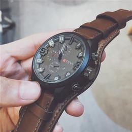 $enCountryForm.capitalKeyWord Australia - Brown Black Colors Large Dial Designer Watch Wholesale Male Business Leather Wrist Watches Quartz New Brand Luxury Men's Fashion Watches