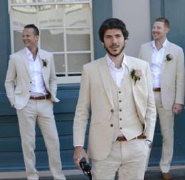 $enCountryForm.capitalKeyWord Canada - Latest Coat Pant Ivory Beige Tux Beach Linen Men Suits Wedding Suit Best Man Summer Blazer Marriage Groom Tuxedos 3 Piece(Jacket+Pant+Vest)