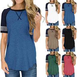 $enCountryForm.capitalKeyWord Australia - Summer Women T-shirt Short Sleeve O-neck Patchwork T Shirt Causal T-shirts Tops Contract Color Tshirts Girls Tees Top Clothing S-2XL