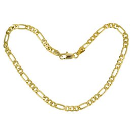 figaro chains 4mm UK - Gold Color 4mm Figaro Link Chain Flat Anklet, Ankle Bracelet for Women Men 9 10 11 inches