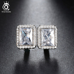 $enCountryForm.capitalKeyWord Australia - ORSA New Arrival 2 ct Emerald Cut Cubic Zircon Earrings Stud Fashion Ear Clip Design Earrings For Ladies Women Hoop EarringsOE95