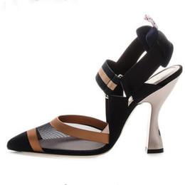 3dde0369 2019 Diseño elegante Sandalias de gladiador Mujer Punta estrecha Malla de  aire Extraño Color mezclado Parthwork Zapatos de tacón alto Mujeres Zapatos  de ...