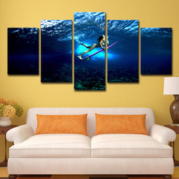 China 5 Piece HD Printed Girl Surfing Painting on Canvas Room Decoration Print Poster Picture Canvas Free Shipping cheap surf paintings canvas suppliers