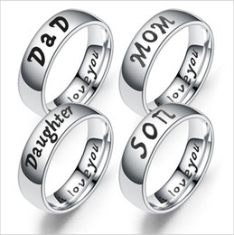 """$enCountryForm.capitalKeyWord Australia - Fashion Jewelry 925 Sterling Silver Titanium Steel Mom-Daughter- Dad -Son Ring """"""""i love you"""""""" Craved Letters Finger Rings"""" Family Gift"""