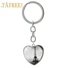 france glasses 2019 - TAFREE Rain in Paris France Pendant key chain ring vintage Eiffel Tower keychain romantic French Art jewelry style gift