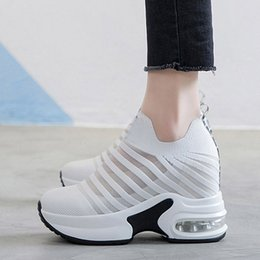 $enCountryForm.capitalKeyWord Australia - A Wholesale Flying Weaving Mesh Inside Heightening Shoes for Women in Summer 2019 New Air Cushion Bottom Korean Sports Leisure Shoes for Wom