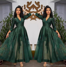 Pink long crystal Prom dress online shopping - 2019 Dark Green V Neck Satin Evening Dresses Long Sleeves Tulle Lace Applique Ruched Ankle Length Prom Formal Wear Party Gowns