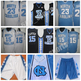 Vince Carter UNC Jersey, North Carolina # 15 Vince Carter Blau Weiß genähtes NCAA College Basketball Jerseys, Stickerei Shorts