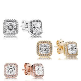 Plata de Ley 925 Cuadrado Gran CZ Pendiente de Diamante Fit Pandora Joyería Oro Rosa Chapado en Oro Pendiente de Perno Prisionero Pendientes de Las Mujeres en venta