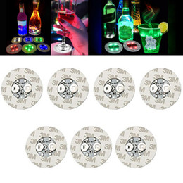 Wine bottle decorations for Weddings online shopping - Led Bar Cup Coaster Light Up Cup Sticker For Drinks Cup Holder Light Wine Liquor Bottle Party Wedding Decoration Supplies WX9