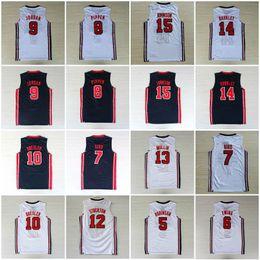 Großhandel College 1992 USA-Team Dream-Team One John Stockton Jersey Patrick Ewing David Robinson Karl Malone Chris Mullin Johnson Jersey Alle Genähtes