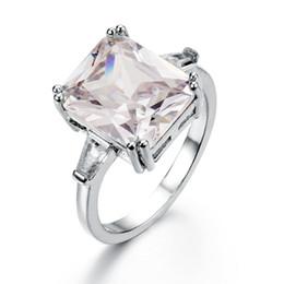 America Brass Australia - Best selling new luxury exaggerated princess diamond ring Europe and America inlaid zircon engagement jewelry female ring