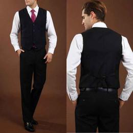 $enCountryForm.capitalKeyWord Australia - 2019 New Classic Fashion Black Waistcoat British Style V Neck Solid Men's Suit Slim Fit Blazer Wedding Suits For Men